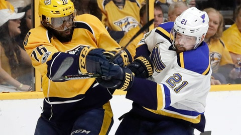 Nashville Predators defenseman P.K. Subban (76) and St. Louis Blues center Patrik Berglund (21), of Sweden, battle for the puck during the first period in Game 4 of a second-round NHL hockey playoff series, Tuesday, May 2, 2017, in Nashville, Tenn. (AP Photo/Mark Humphrey)