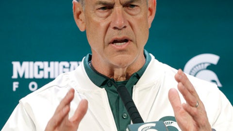 Michigan State coach Mark Dantonio addresses the media following a spring NCAA college football scrimmage, Saturday, April 1, 2017, in East Lansing, Mich. (AP Photo/Al Goldis)
