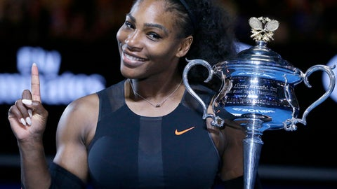 FILE - In this Jan. 28, 2017, file photo, Serena Williams holds up a finger and her trophy after defeating her sister, Venus, in the women's singles final at the Australian Open tennis championships in Melbourne, Australia. Williams wants to help diversify the tech industry now that she is joining a Silicon Valley boardroom for the first time. Online poll taking service SurveyMonkey announced Williams' appointment to its board on Wednesday, May 24, along with Intuit CEO Brad Smith. (AP Photo/Aaron Favila, File)