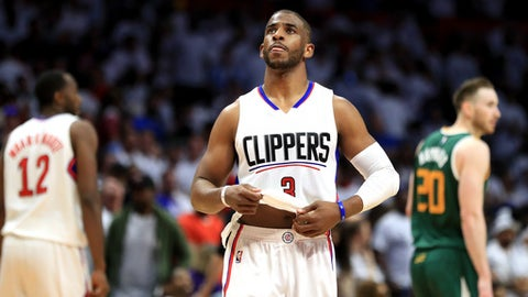 LOS ANGELES, CA - APRIL 30:  Chris Paul #3 of the Los Angeles Clippers looks on during the second half of Game Seven of the Western Conference Quarterfinals against the Utah Jazz at Staples Center at Staples Center on April 30, 2017 in Los Angeles, California.  NOTE TO USER: User expressly acknowledges and agrees that, by downloading and or using this photograph, User is consenting to the terms and conditions of the Getty Images License Agreement.  (Photo by Sean M. Haffey/Getty Images)