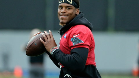Carolina Panthers quarterback Cam Newton (1) runs a drill during practice during the NFL football team's organized team activities in Charlotte, N.C., Tuesday, May 30, 2017. (AP Photo/Chuck Burton)