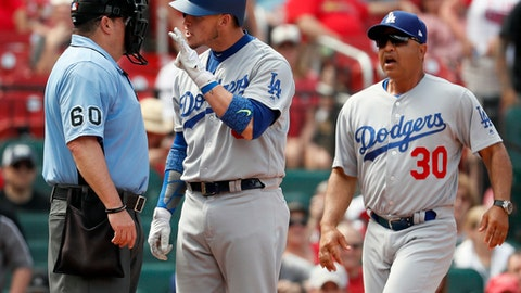 Los Angeles Dodgers' Yasmani Grandal, center, yells after striking out then being ejected by home plate umpire Marty Foster, left, as Dodgers manager Dave Roberts, right, jogs to intervene during the ninth inning of a baseball game against the St. Louis Cardinals Thursday, June 1, 2017, in St. Louis. The Cardinals won 2-0. (AP Photo/Jeff Roberson)