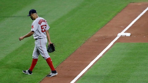 Boston Red Sox starting pitcher Eduardo Rodriguez walks off the field after being relieved in the sixth inning of the team's baseball game against the Baltimore Orioles in Baltimore, Thursday, June 1, 2017. (AP Photo/Patrick Semansky)