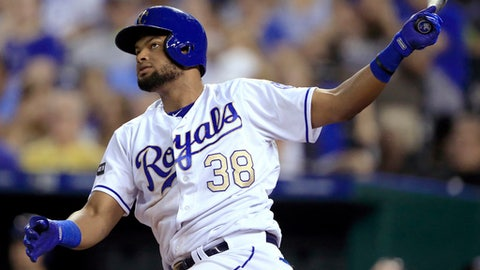 Kansas City Royals' Jorge Bonifacio watches his double off Cleveland Indians starting pitcher Josh Tomlin during the seventh inning of a baseball game at Kauffman Stadium in Kansas City, Mo., Friday, June 2, 2017. (AP Photo/Orlin Wagner)