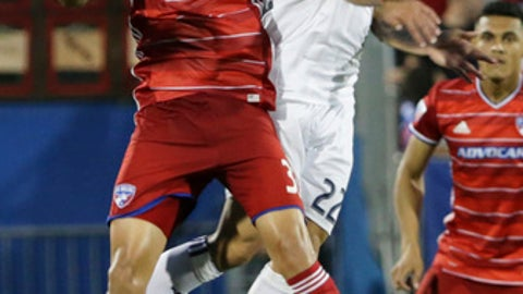 Real Salt Lake midfielder Ricardo Velazco (22) and FC Dallas defender Aaron Guillen (33) jump for a head ball during the second half of an MLS soccer match in Frisco, Texas, Saturday, June 3, 2017. FC Dallas won 6-2. (AP Photo/LM Otero)