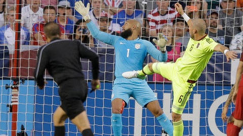 Venezuela's defender José Manuel Velázquez (6) scores against United States goalkeeper Tim Howard (1) in the first half during an international friendly match Saturday, June 3, 2017, in Sandy, Utah. (AP Photo/Rick Bowmer)