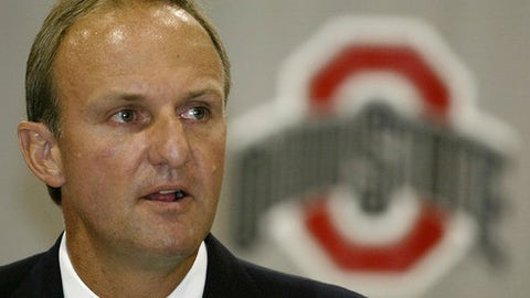 "FILE - In this July 9, 2004, file photo, Thad Matta answers questions during a news conference announcing him as Ohio State's new basketball coach, in Columbus, Ohio. Matta is out as coach of Ohio State after 13 seasons. Matta said Monday, June 5, 2017,  it was a ""mutually agreed"" decision. (AP Photo/Jay LaPrete, File)"