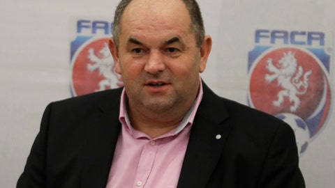 FILE - A March 21, 2017 file photo of the chairman of Czech Football Association Miroslav Pelta addresseing media at a news conference in Prague, Czech Republic. The Czech football federation said Tuesday, June 6, 2017, that its detained chairman, Miroslav Pelta, has resigned from his post. Pelta has been in detention since May 3 when police raided the federation headquarters. (AP Photo/Petr David Josek, File)