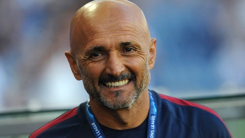 FILE - In this Wednesday, Aug. 17, 2016 coach Luciano Spalletti smiles during a Champions League play-offs first leg soccer match between FC Porto and AS Roma at the Dragao stadium in Porto, Portugal. Former Roma coach Luciano Spalletti said to reporters at Milan's Malpensa airport Tuesday, June 6, 2017 he has reached a deal to become the new manager of Inter Milan.  (AP Photo/Paulo Duarte)