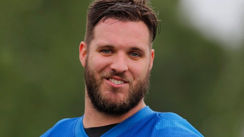 Detroit Lions tackle Taylor Decker watches during an NFL football practice in Allen Park, Mich., Wednesday, May 24, 2017. (AP Photo/Paul Sancya)