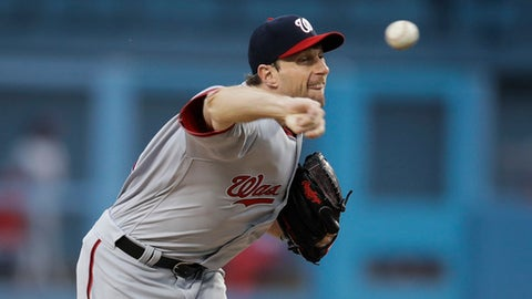 Washington Nationals starting pitcher Max Scherzer throws against the Los Angeles Dodgers during the first inning of a baseball game, Tuesday, June 6, 2017, in Los Angeles. (AP Photo/Jae C. Hong)