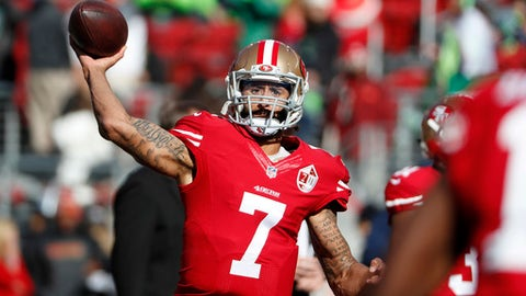 FILE - In this Sunday, Jan. 1, 2017, file photo, San Francisco 49ers quarterback Colin Kaepernick (7) warms up before an NFL football game against the Seattle Seahawks in Santa Clara, Calif. Talent or not, Kaepernick won't be setting foot on any NFL field very soon. (AP Photo/Tony Avelar, File)