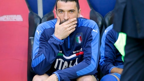 Italy goalkeeper Gianluigi Buffon sits on the bench prior to a friendly soccer match between Italy and Uruguay, at the Nice Allianz Riviera stadium, France, Wednesday, June 7, 2017. (AP Photo/Claude Paris)