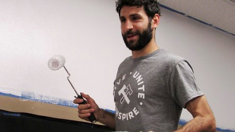 Portland Timbers midfielder Diego Valeri paints a room for foster children at the Beaverton Department of Human Services, Tuesday, June 6, 2017 in Beaverton, Ore. The project was part of Stand Together Week, the Timbers' annual event that encourages volunteering throughout the community. (AP Photo/Anne M. Peterson)