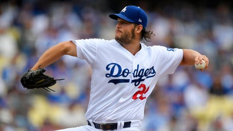 Los Angeles Dodgers starting pitcher Clayton Kershaw throws to the plate during the second inning of a baseball game against the Washington Nationals, Wednesday, June 7, 2017, in Los Angeles. (AP Photo/Mark J. Terrill)