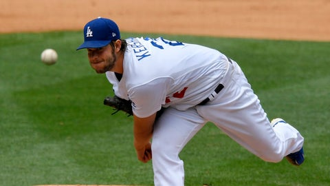 Los Angeles Dodgers starting pitcher Clayton Kershaw throws to the plate during the fourth inning of the team's baseball game against the Washington Nationals, Wednesday, June 7, 2017, in Los Angeles. (AP Photo/Mark J. Terrill)