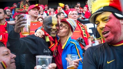 Belgian fans cheer at the World Cup Group H qualifying match between Estonia and Belgium at the A. Le Coq Arena in Tallinn, Estonia, Friday, June 9, 2017. (AP Photo/Marko Mumm)