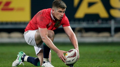 British and Irish Lions flyhalf Owen Farrell prepares to take a shot at goal during their match against the Canterbury Crusaders in Christchurch, New Zealand, Saturday, June 10, 2017. (AP Photo/Mark Baker)