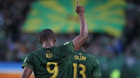 Portland Timbers forward Fanendo Adi reacts after scoring a goal in the first half of an MLS soccer match against FC Dallas on Saturday, June 10, 2017, in Portland. (Pete Christopher/The Oregonian via AP)