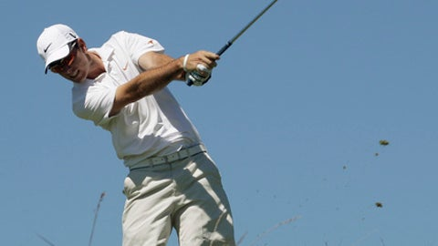 Dylan Frittelli of South Africa hits a shot on the sixth hole during the second round of match play at the U.S. Amateur golf tournament Thursday, Aug. 25, 2011, at Erin Hills Golf Course in Erin, Wis. (AP Photo/Morry Gash)
