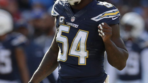 San Diego Chargers outside linebacker Melvin Ingram (54) during an NFL football game against the Kansas City Chiefs Sunday, Jan. 1, 2017, in San Diego. (AP Photo/Rick Scuteri)