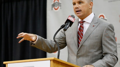 Chris Holtmann answers questions during a news conference naming him the new men's head basketball coach at Ohio State, Monday, June 12, 2017, in Columbus, Ohio. (AP Photo/Jay LaPrete)