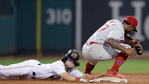 Philadelphia Phillies' Howie Kendrick, right, forces out Boston Red Sox's Andrew Benintendi, who was late returning to second on a fly out by Jackie Bradley Jr., during the tenth inning of a baseball game at Fenway Park in Boston, Monday, June 12, 2017. (AP Photo/Charles Krupa)