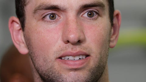 Indianapolis Colts quarterback Andrew Luck responds to questions during a news conference at the NFL football team's minicamp Tuesday, June 13, 2017, in Indianapolis. (AP Photo/Darron Cummings)