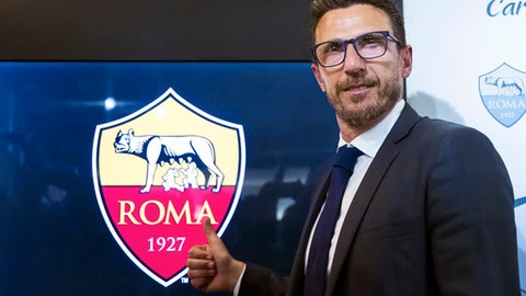 Newly named Roma head coach Eusebio Di Francesco poses for photos during a press conference at the team's Trigoria facility, in Rome, Wednesday, June 14, 2017. (Angelo Carconi/ANSA via AP)