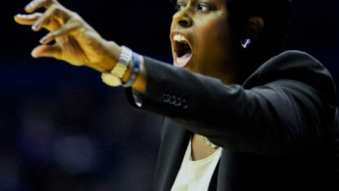 Georgetown head coach Natasha Adair  against Xavier during an NCAA college basketball game in the first round of the Big East Conference tournament in Rosemont, Ill., on Saturday, March 7, 2015.  (AP Photo/Matt Marton)