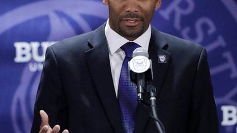 LaVall Jordan speaks during an NCAA college basketball news conference introducing him as the new men's head basketball coach at Butler, Wednesday, June 14, 2017, in Indianapolis. (AP Photo/Darron Cummings)