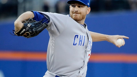 Chicago Cubs' Mike Montgomery winds up during the first inning of the team's baseball game against the New York Mets on Wednesday, June 14, 2017, in New York. (AP Photo/Frank Franklin II)
