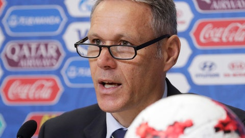 FIFA Chief technical development officer Marco van Basten speaks during a news conference before the upcoming Confederations Cup in St. Petersburg, Russia, Thursday, June 15, 2017. (AP Photo/Dmitri Lovetsky)