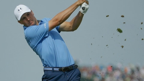 Jordan Spieth hits on the 13th hole during the first round of the U.S. Open golf tournament Thursday, June 15, 2017, at Erin Hills in Erin, Wis. (AP Photo/Chris Carlson)