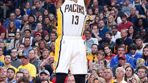 INDIANAPOLIS, IN - APRIL 23: Paul George #13 of the Indiana Pacers shoots the ball against the Cleveland Cavaliers in Game Four of the Eastern Conference Quarterfinals during the 2017 NBA Playoffs at Bankers Life Fieldhouse on April 23, 2017 in Indianapolis, Indiana. The Cavaliers defeated the Pacers 106-102 to sweep the series 4-0. NOTE TO USER: User expressly acknowledges and agrees that, by downloading and or using the photograph, User is consenting to the terms and conditions of the Getty Images License Agreement. (Photo by Joe Robbins/Getty Images)
