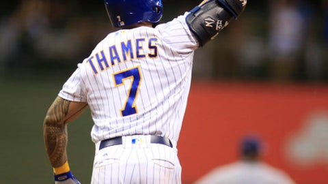 Milwaukee Brewers' Eric Thames celebrates his game-winning home run against the San Diego Padres during the 10th inning of a baseball game Friday, June 16, 2017, in Milwaukee. The Brewers won 6-5. (AP Photo/Darren Hauck)