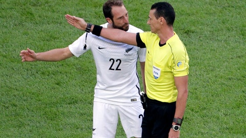 New Zealand's Andrew Durante, left, talks with referee Wilmar Roldan during the Confederations, Cup Group A soccer match between Russia and New Zealand, at the St.Petersburg stadium in St.Petersburg, Russia, Saturday, June 17, 2017. (AP Photo/Dmitri Lovetsky)