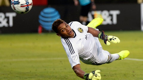 Columbus Crew goalkeeper Zack Steffen (23) blocks a shot in the second half of an MLS soccer match against Atlanta United, Saturday, June 17, 2017, in Atlanta. (AP Photo/John Bazemore)