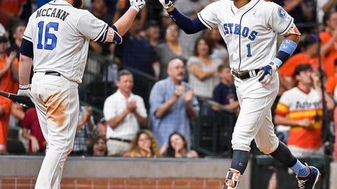 Houston Astros' Carlos Correa (1) celebrates with Brian McCann after hitting a solo home run off Boston Red Sox starting pitcher David Price during the fifth inning of a baseball game, Sunday, June 18, 2017, in Houston. (AP Photo/Eric Christian Smith)