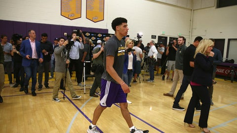 EL SEGUNDO, CA - JUNE 07:  NBA Prospect Lonzo Ball walks away after speaking with the media after a workout with the Los Angeles Lakers at Toyota Sports Center on June 7, 2017 in El Segundo, California.  NOTE TO USER: User expressly acknowledges and agrees that, by downloading and or using this photograph, User is consenting to the terms and conditions of the Getty Images License Agreement.  (Photo by Sean M. Haffey/Getty Images)