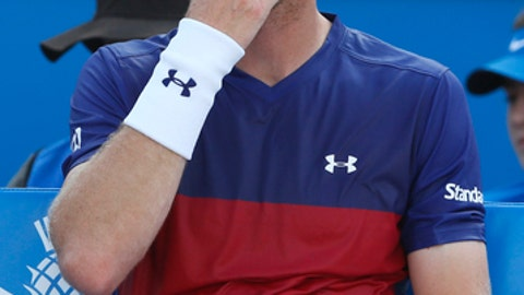 Andy Murray of Britain sits in the chair between games as he plays against Jordan Thompson of Australia during day two of the Queen's Club tennis tournament in London, Tuesday, June 20, 2017. (AP Photo/Kirsty Wigglesworth)