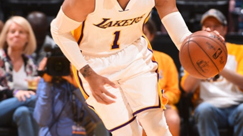 LOS ANGELES, CA - APRIL 2: D'Angelo Russell #1 of the Los Angeles Lakers handles the ball against the Memphis Grizzlies on April 2, 2017 at STAPLES Center in Los Angeles, California. NOTE TO USER: User expressly acknowledges and agrees that, by downloading and/or using this Photograph, user is consenting to the terms and conditions of the Getty Images License Agreement. Mandatory Copyright Notice: Copyright 2017 NBAE (Photo by Andrew D. Bernstein/NBAE via Getty Images)