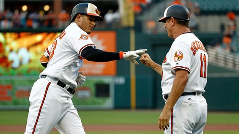 Baltimore Orioles' Manny Machado, left, greets third base coach Bobby Dickerson as he rounds the bases after hitting a solo home run in the first inning of a baseball game against the Cleveland Indians in Baltimore, Tuesday, June 20, 2017. (AP Photo/Patrick Semansky)
