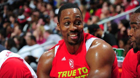 ATLANTA, GA - APRIL 24:  Dwight Howard #8 of the Atlanta Hawks is seen during Game Four of the Eastern Conference Quarterfinals of the 2017 NBA Playoffs on April 24, 2017 at Philips Arena in Atlanta, Georgia. NOTE TO USER: User expressly acknowledges and agrees that, by downloading and/or using this photograph, user is consenting to the terms and conditions of the Getty Images License Agreement. Mandatory Copyright Notice: Copyright 2017 NBAE (Photo by Scott Cunningham/NBAE via Getty Images)