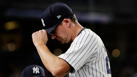 New York Yankees relief pitcher Tyler Clippard leaves the baseball game against the Los Angeles Angels during the seventh inning Tuesday, June 20, 2017, in New York. (AP Photo/Frank Franklin II)