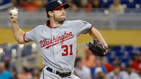 Washington Nationals' Max Scherzer delivers a pitch during the first inning of a baseball game against the Miami Marlins, Wednesday, June 21, 2017, in Miami. (AP Photo/Wilfredo Lee)