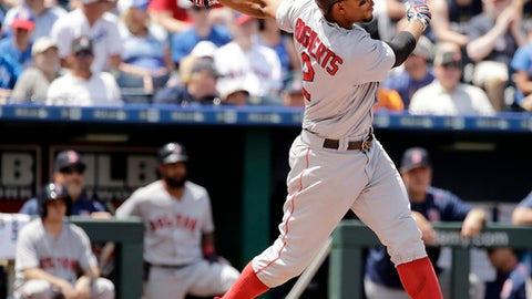 Boston Red Sox's Xander Bogaerts hits a solo home run during the fourth inning of a baseball game against the Kansas City Royals, Wednesday, June 21, 2017, in Kansas City, Mo. (AP Photo/Charlie Riedel)