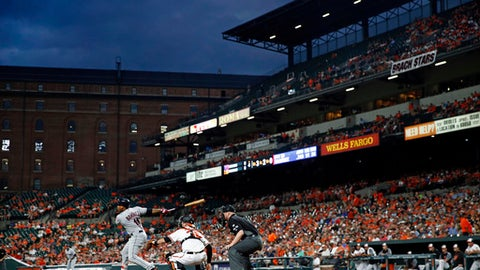Cleveland Indians' Jose Ramirez, bottom left, singles in front of Baltimore Orioles catcher Caleb Joseph and home plate umpire Ryan Blakney in the fourth inning of a baseball game in Baltimore, Wednesday, June 21, 2017. (AP Photo/Patrick Semansky)