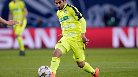 FILE - In this March 8, 2016, file photo, Gent's Kenny Saief plays the ball during a Champions League round of sixteen second leg soccer match against VfL Wolfsburg in Wolfsburg, Germany. Saief has been given permission by FIFA to change his national team affiliation to the United States from Israel. The announcement was made by the U.S. Soccer Federation on Thursday, June 22, 2018. The 23-year-old from Panama City, Fla., played for Israel's under-19 and under-21 teams.  (AP Photo/Michael Sohn, File)