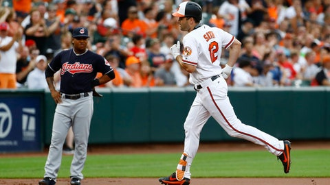 Baltimore Orioles' Seth Smith rounds the bases past Cleveland Indians third baseman Jose Ramirez after hitting a solo home run during the first inning of a baseball game in Baltimore, Thursday, June 22, 2017. (AP Photo/Patrick Semansky)